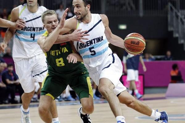 Manu Ginobili e cia foram os destaques da 1ª rodada do basquete masculino em Londres. (Crédito: AFP)